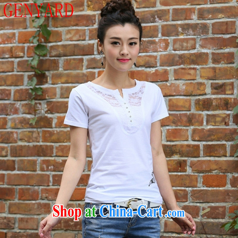 Qin Qing store 2015 new summer Korean female short-sleeve V for wood drilling T pension female beauty large white, embroidered T pension white 2XL