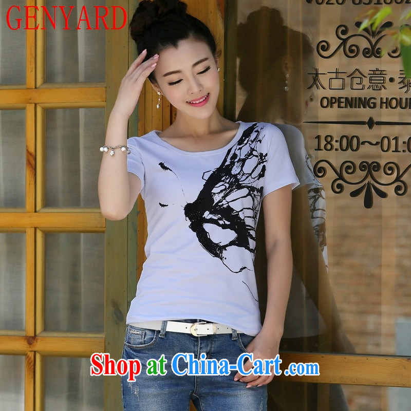 Qin Qing store 2015 summer new Korean female T-shirt short sleeve T-shirts solid T shirts female white XL