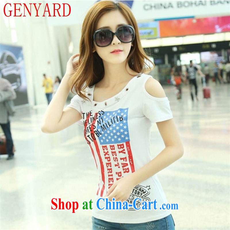Qin Qing store 2015 summer new stylish stamp rivet the shoulder your shoulders decorated women seen wearing short-sleeved shirts T black L