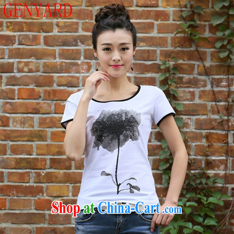 Deloitte Touche Tohmatsu sunny store 2015 new summer Korean girl with a short-sleeved shirt T female beauty graphics thin large, stylish T pension white 2XL