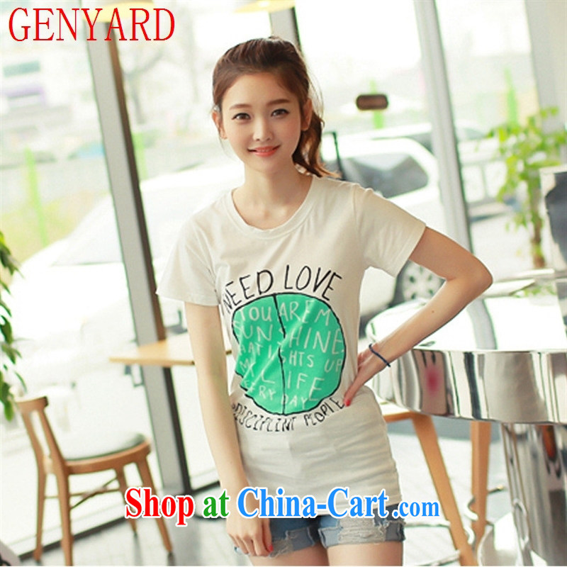 Qin Qing store 2015 summer new lady stamp duty round-collar cultivating short solid T-shirt graphics skinny fresh short-sleeved T-shirt girls cotton 7 XXL