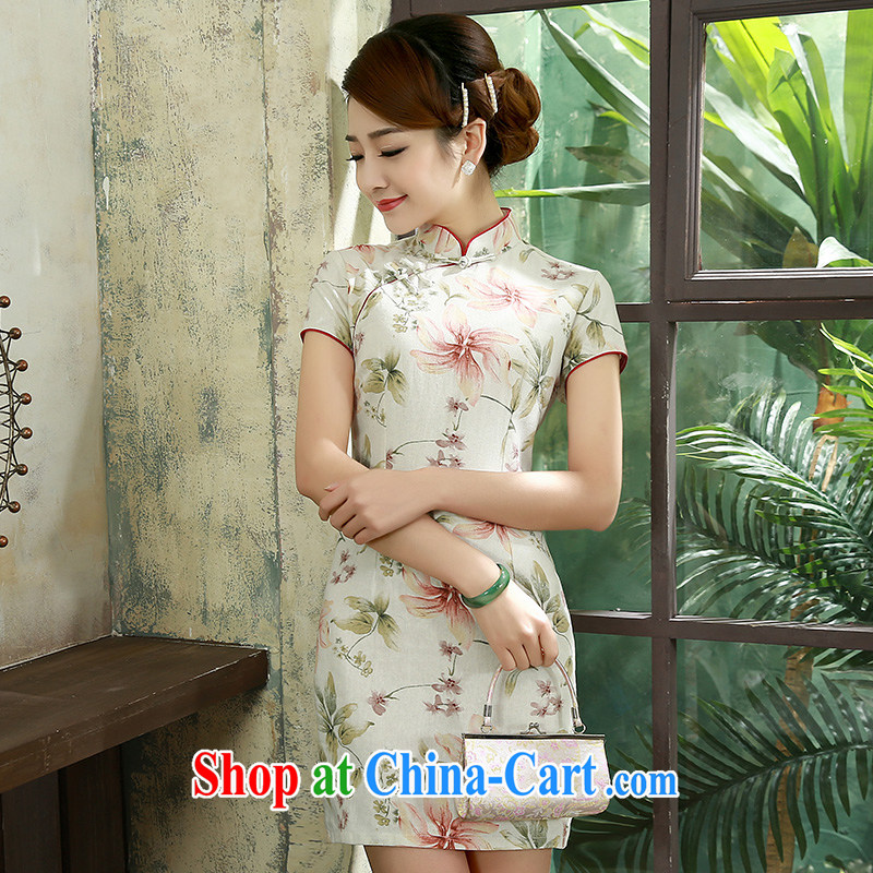 2015 new dresses and improved stylish short cotton Ma dresses daily video thin Q 1078 fancy XXL
