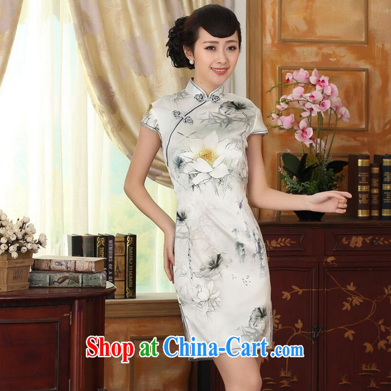 Find Sophie summer female new Chinese improved Lotus cultivating Silk Dresses dinner retro sauna short Silk Cheongsam Lotus 2 XL