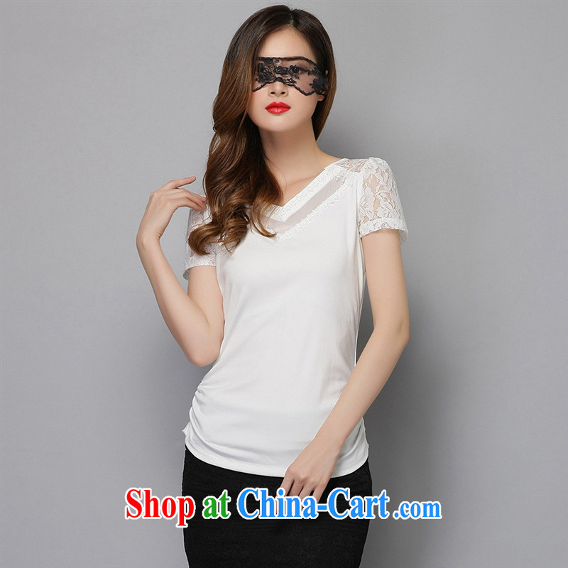 Ya-ting store summer 2015 women new Korean girls T-shirts girls T-shirt with short sleeves, breathable lace solid black T-shirt XXL
