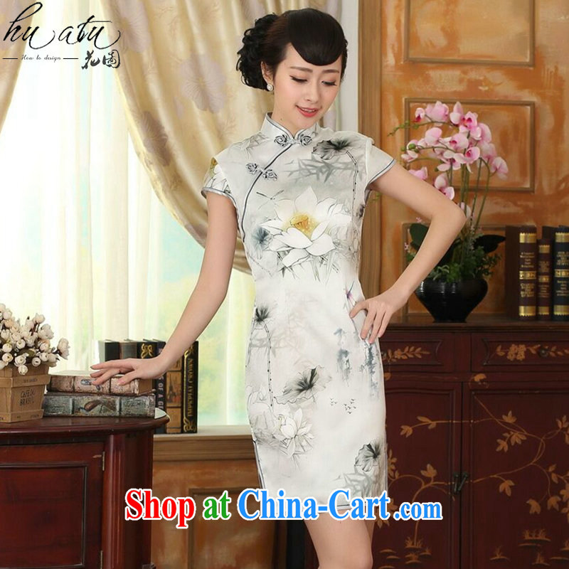 spend the summer dress new Chinese improved Lotus cultivating Silk Dresses dinner retro sauna Silk Cheongsam short figure color 2 XL