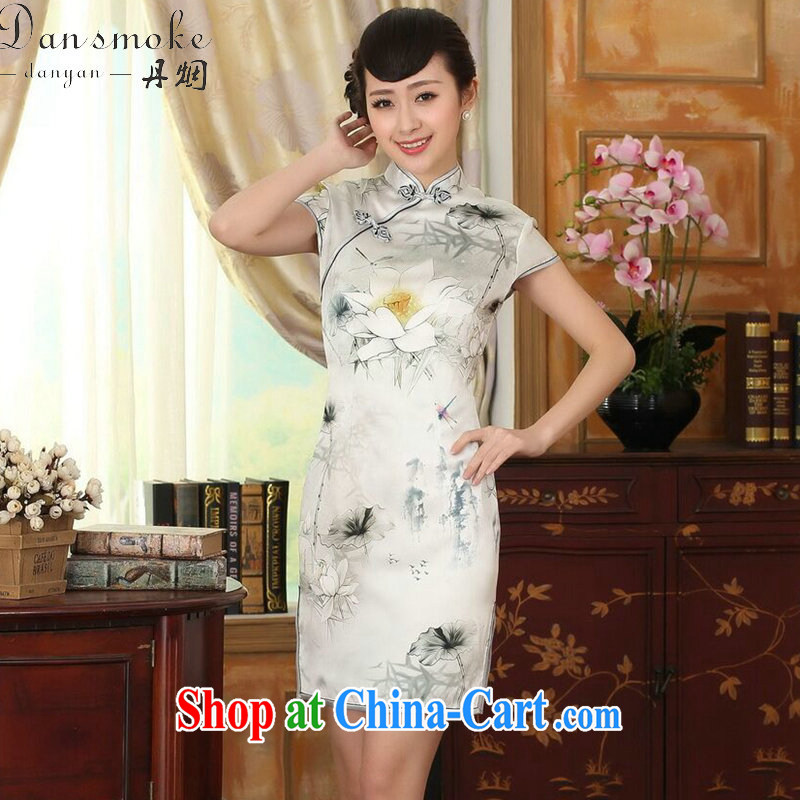 Dan smoke summer female new improved Lotus cultivating heavy Silk Dresses dinner retro sauna Silk Cheongsam short Lotus 2 XL