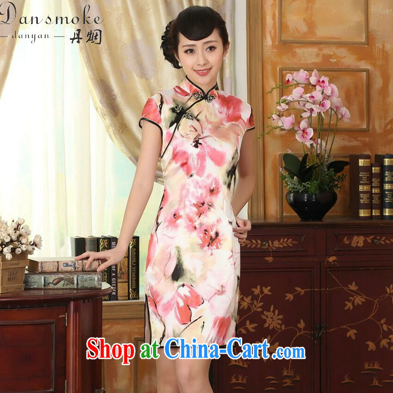 Dan smoke heavy silk retro classic sauna silk poster stretch the improved cultivation double short cheongsam dress female water toner 2 XL