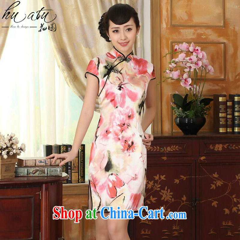 Take the heavy silk retro classic sauna silk poster stretch the improved cultivation double short cheongsam dress female water toner 2 XL
