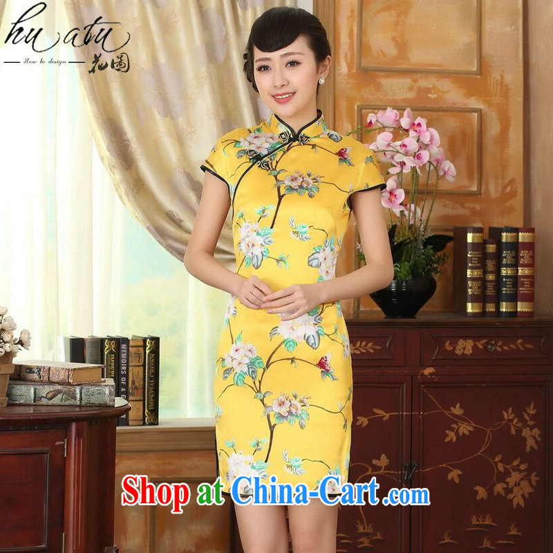spend the summer heavy silk retro classic sauna silk poster stretch the improved cultivation double-decker short cheongsam dress such as the color 2 XL
