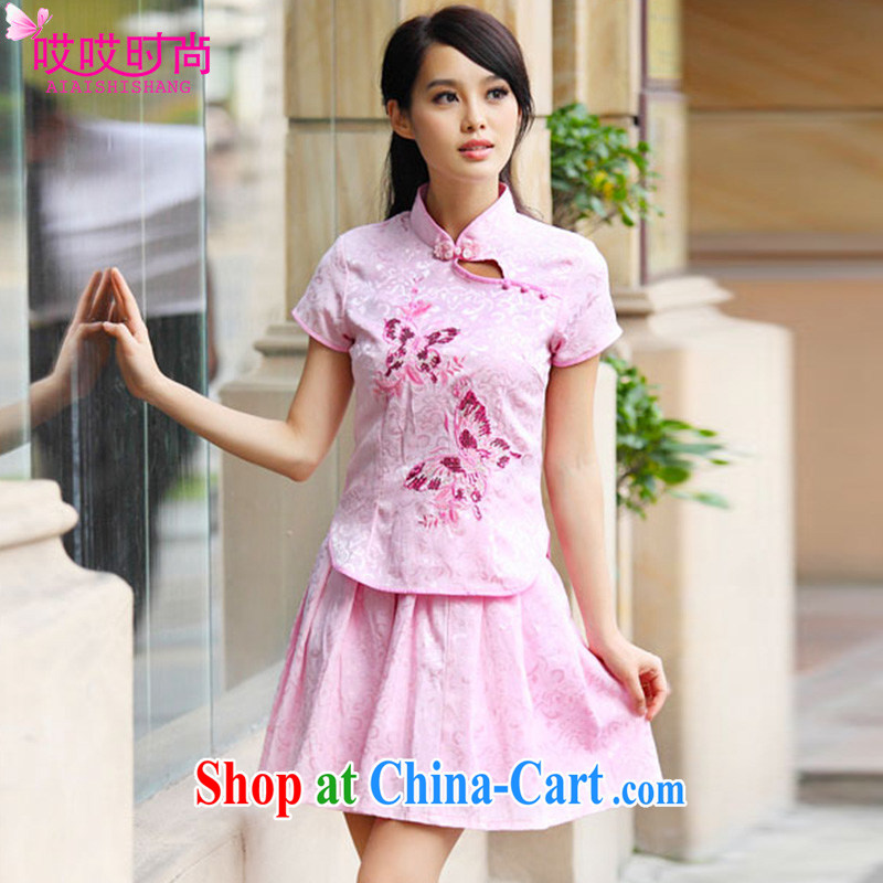 Ah, ah, stylish summer 2015 new female elegant retro fresh dish of cheongsam A 6908 #pink XL