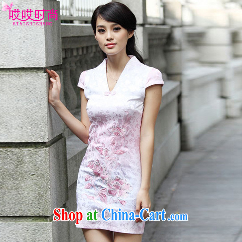 Ah, ah, stylish summer 2015 new female improved lace antique cheongsam dress A 6921 _pink XL