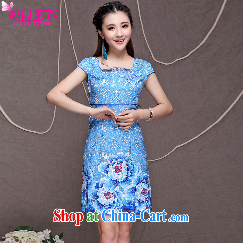 Ah, ah, stylish summer 2015 new female retro ethnic wind Chinese beauty graphics thin outfit _9913 blue XXL
