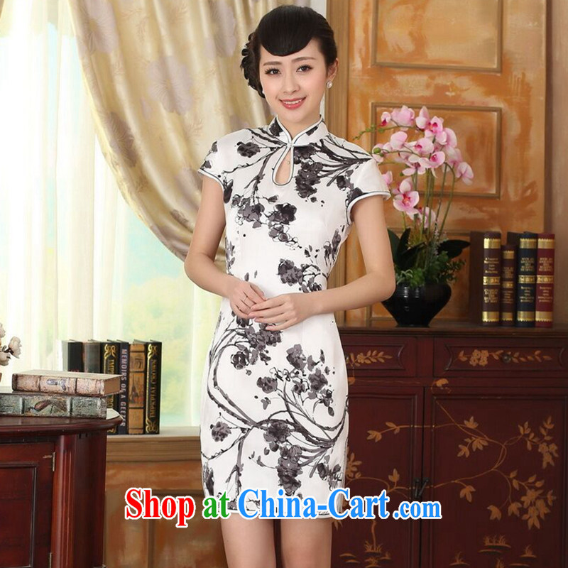 Find Sophie summer heavy silk retro classic sauna silk improved poster ink stretch Satin beauty double short dresses such as the color 2 XL
