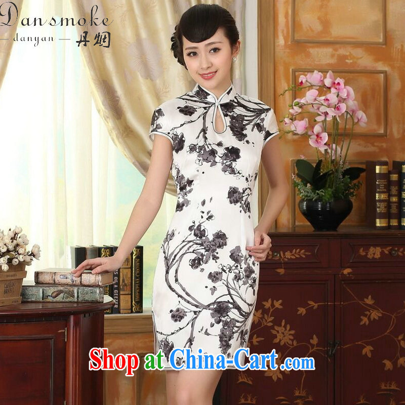 Dan smoke summer heavy silk retro classic sauna silk improved poster ink stretch Satin beauty double short cheongsam as color 2XL