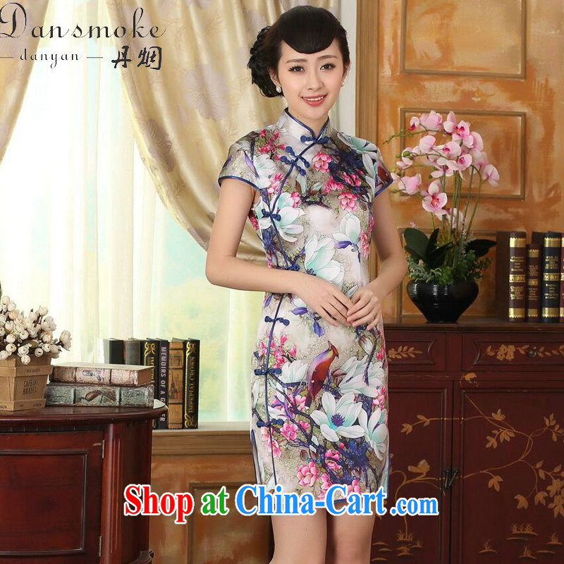 Dan smoke summer heavy Silk Cheongsam poster stretch Satin improved sauna silk tulip elegant banquet short dresses such as the color 2 XL