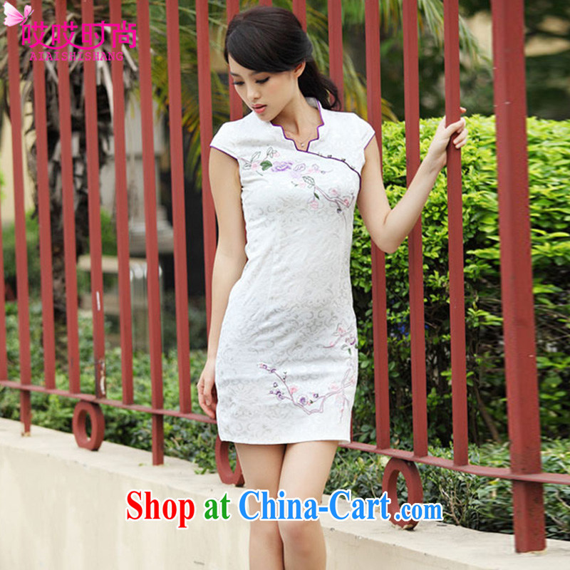 Ah, ah, stylish summer 2015 new female retro stamp cultivating cheongsam dress A 6901 _white XL
