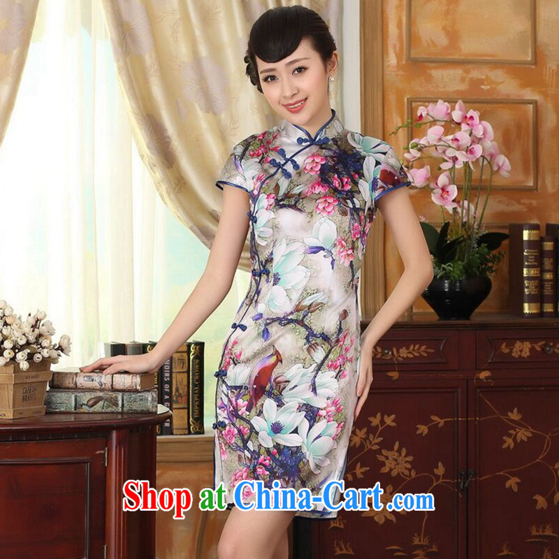 Find Sophie summer heavy Silk Cheongsam poster stretch Satin improved sauna silk tulip elegant banquet short cheongsam tulip 2 XL