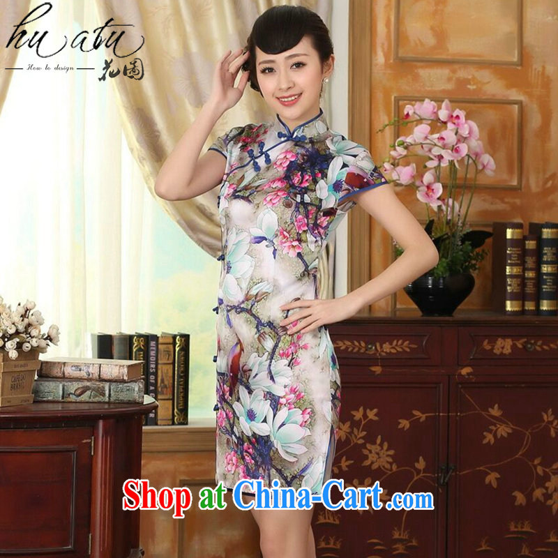 spend the summer heavy Silk Cheongsam poster stretch Satin improved sauna silk tulip elegant banquet short cheongsam as color 2XL