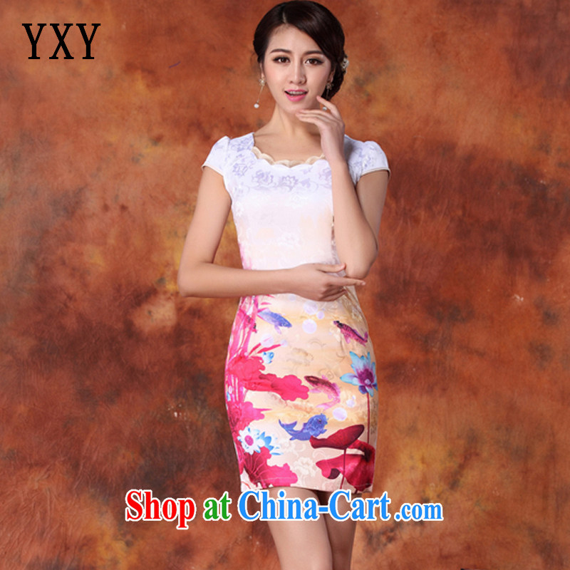 Stakeholders line cloud high-end stamp ladies stylish improved cheongsam short dress JT 1018 red XXL