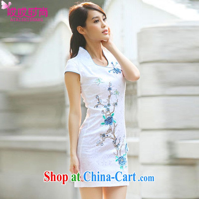 Ah, ah, stylish summer 2015 new female Chinese elegant day dresses skirts A 6919 _blue XL
