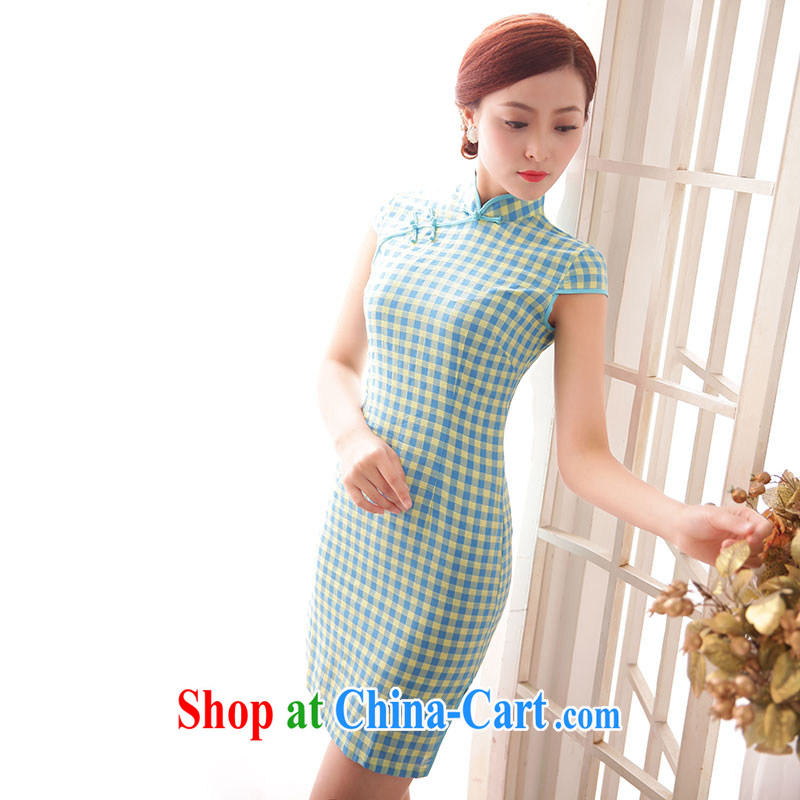 Jubilee 1000 bride 2015 Spring Summer retro Ethnic Wind stylish improved grid cheongsam dress X 593 A, if XXL