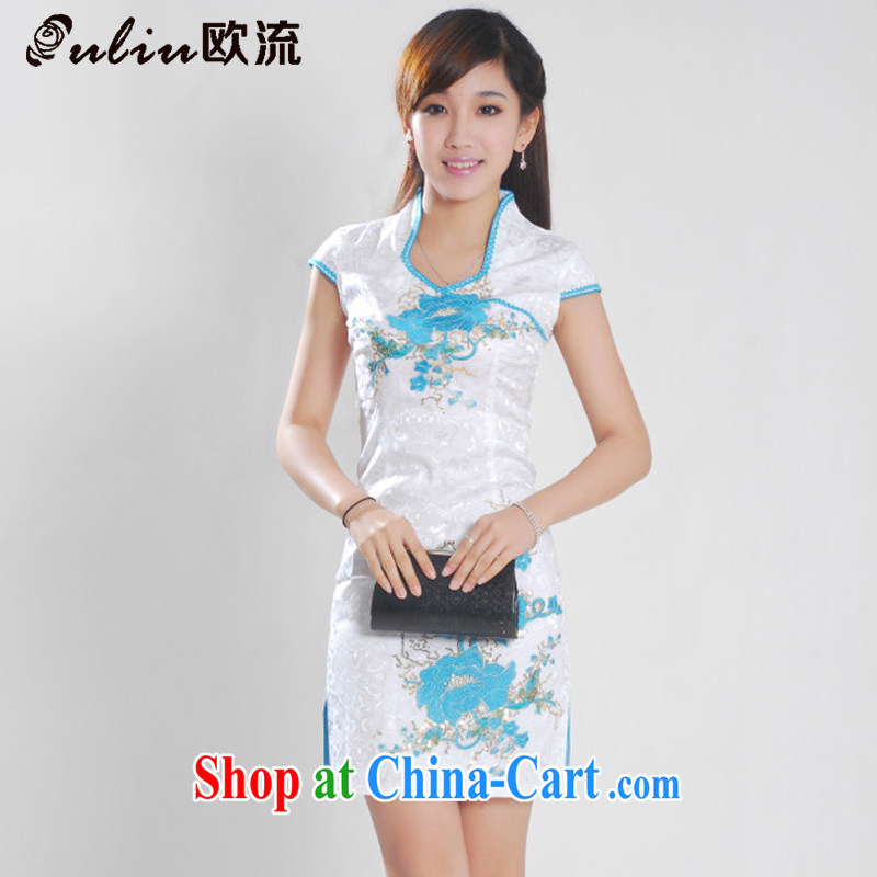 The best female dresses jacquard cotton Web, peony flowers improved cheongsam Chinese JT 901 white blue XL