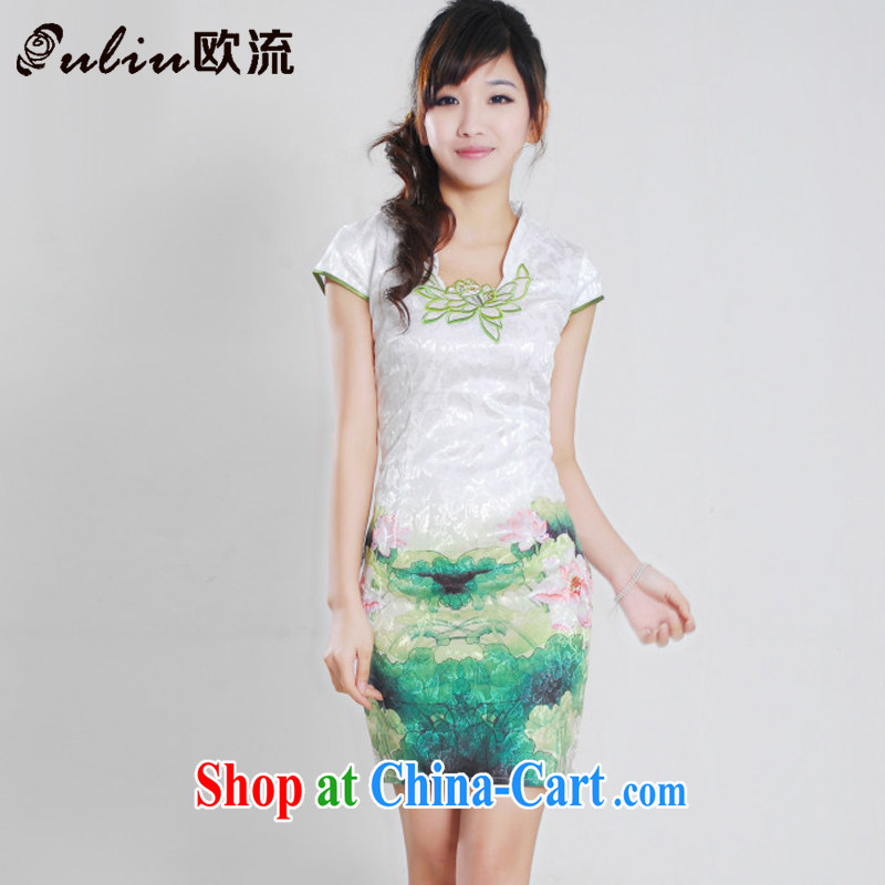 The current Chinese Antique improved stylish short cheongsam dress fresh beauty cheongsam dress JT 903 I should be grateful if you green XL
