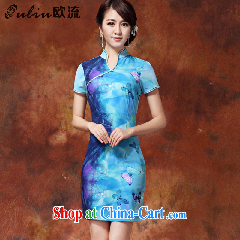 The stream qipao Chinese Ethnic Wind low stylish improved cheongsam, long, Ms. short-sleeved solid JT outfit _918 blue XL