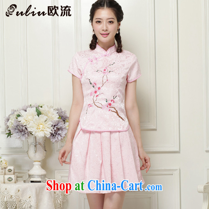 The trendy girls with short, two-piece dresses Ethnic Wind elegant improved cheongsam JT 119 _pink XXL