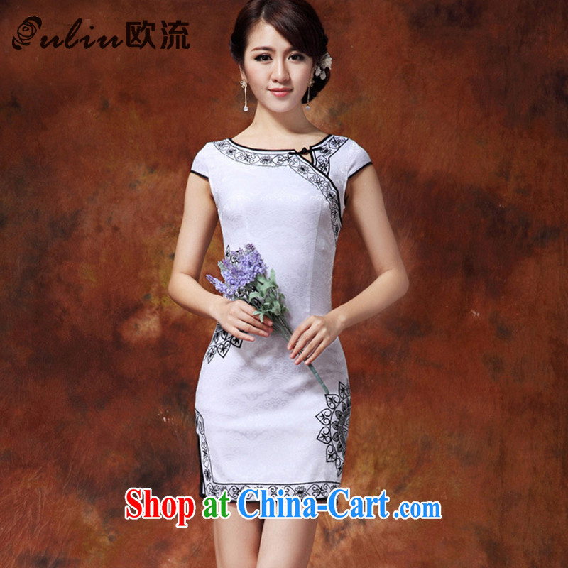 The current trend toward ethnic wind female fashion improved cheongsam Chinese Pipa flap-in Lao long cheongsam JT 920 White Black XXL