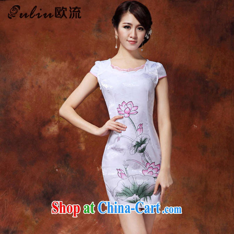 The stream fine stamp Ethnic Wind and elegant and stylish improved cheongsam Chinese short-sleeved qipao JT 916 #white XXL