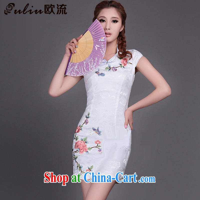 euro-china's Ethnic Wind Cultivating Female qipao 9 color embroidery online flowers rich traditional improved cheongsam Chinese JT 315 _white XXL