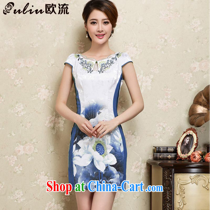 euro-china wind girls stylish stamp embroidery female short-sleeve is not the forklift truck cheongsam JT 1025 blue XXL