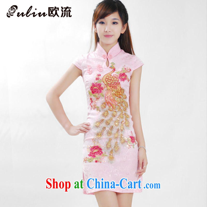 The current short-sleeved shirts, dresses for the left and right so stylish and improved cheongsam, long a tight collar, qipao JT 181 pink XL