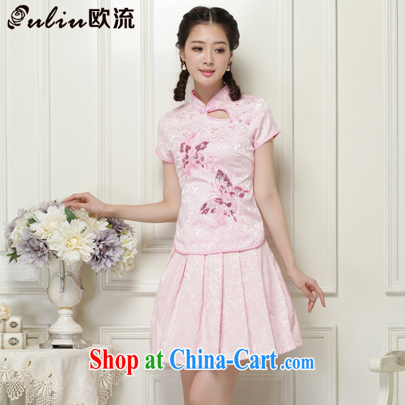 The current spring and summer, dresses for China's National wind-power's a tight two-piece short cheongsam package JT 988 pink XXL