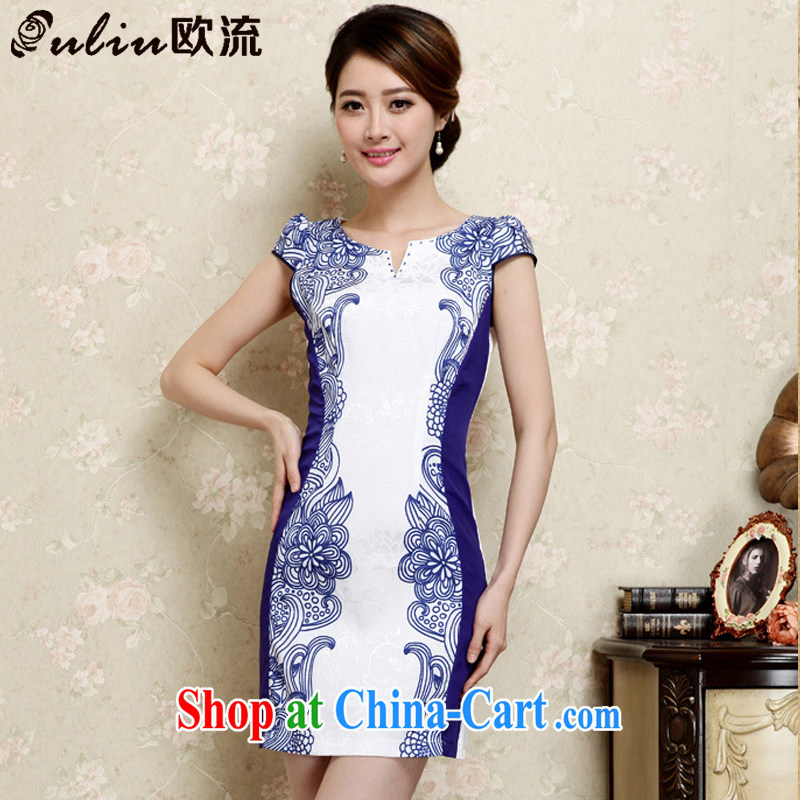 The first class elegance Ethnic Wind Cultivating Female improved cheongsam no's round-cut solid, qipao JT 1021 blue XXL