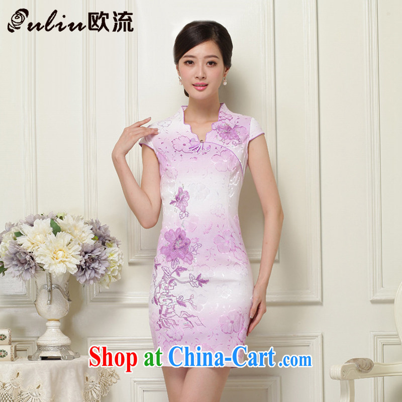 The current National wind stylish improved cheongsam short cheongsam elegant qipao JT 908 purple XXL