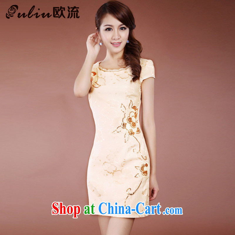 The trendy improved cheongsam Chinese Ethnic Wind no voters, long, elegant qipao dresses JT 909 apricot L