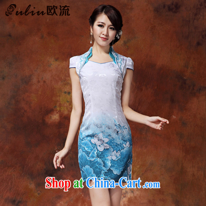 The leading ladies dress up for Chinese Chinese mandarin gowns, long, improved and stylish dresses JT 919 #blue XXL I should be grateful if you