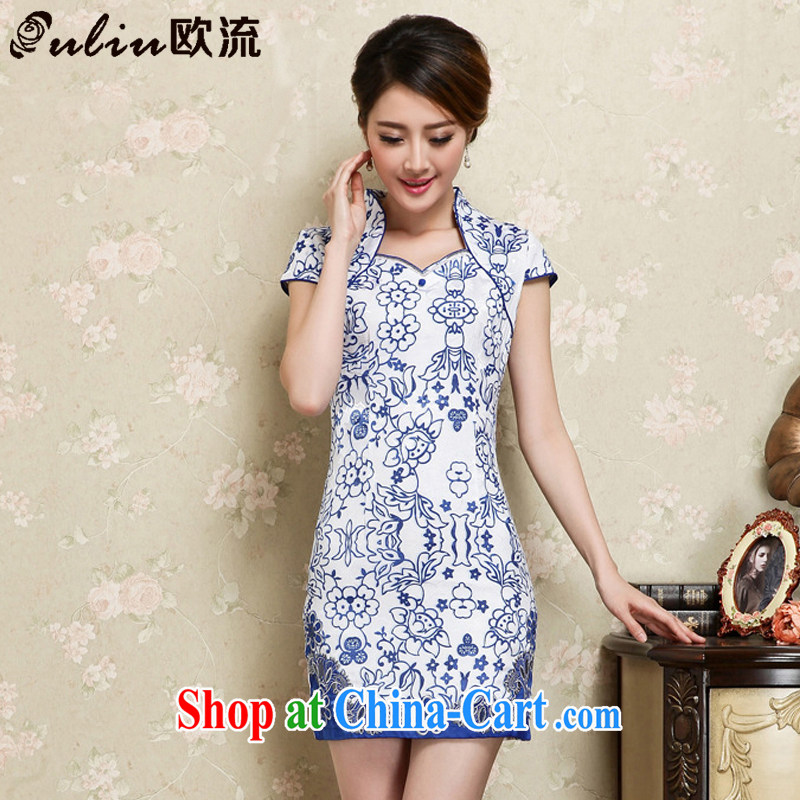 The flow improved retro short cheongsam Chinese blue and white porcelain pattern cheongsam dress JT 1129 blue XXL
