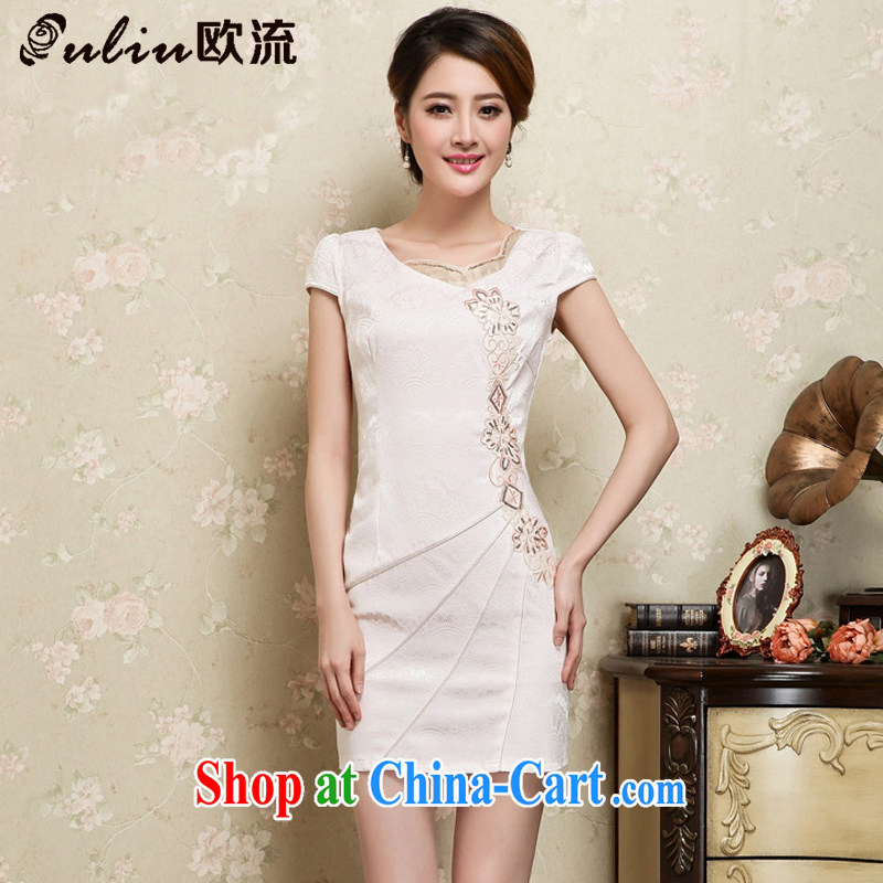 The flow improved cheongsam stylish Chinese Ethnic Wind female short-sleeved cultivating cheongsam Chinese JT 1028 apricot XL