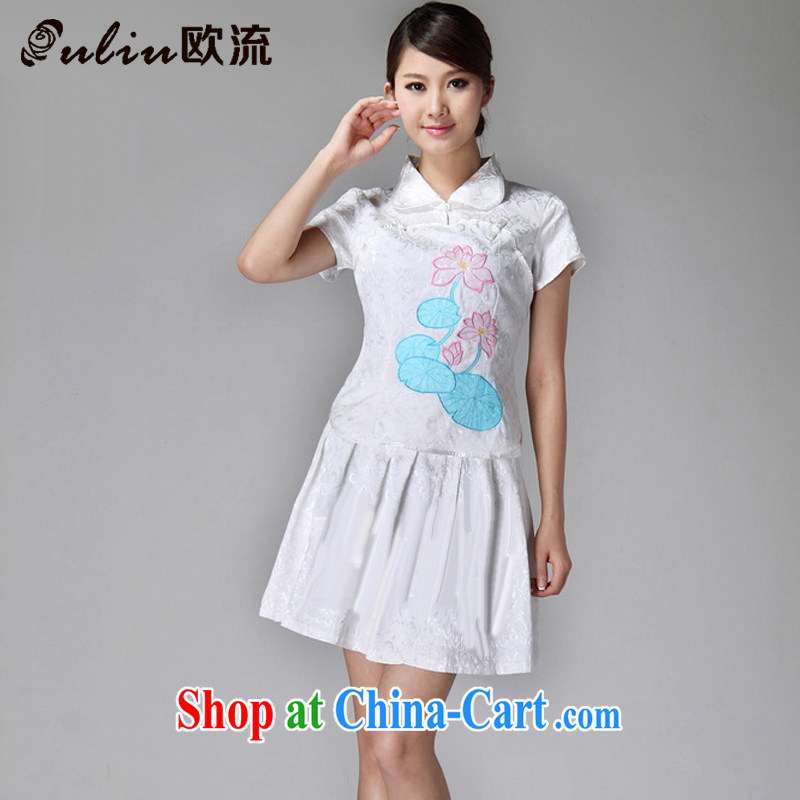 The class 2015 summer, female outfit lapel classic light lotus 100 hem cheongsam dress JT 229 white XXL