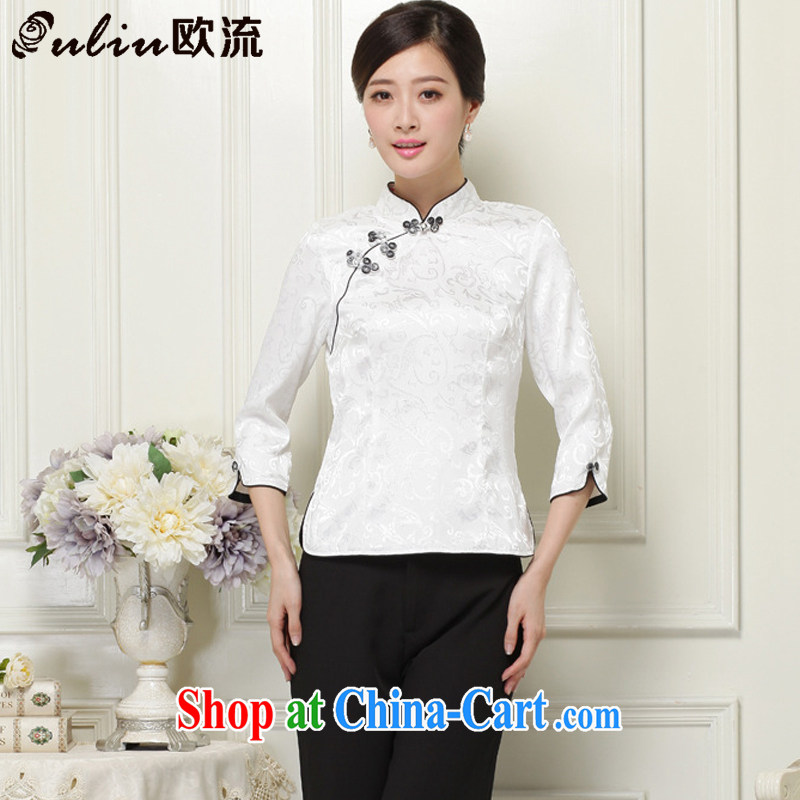 The current 2015 National wind 7 cuffs and classy improved cheongsam shirt JT 1059 white XXL