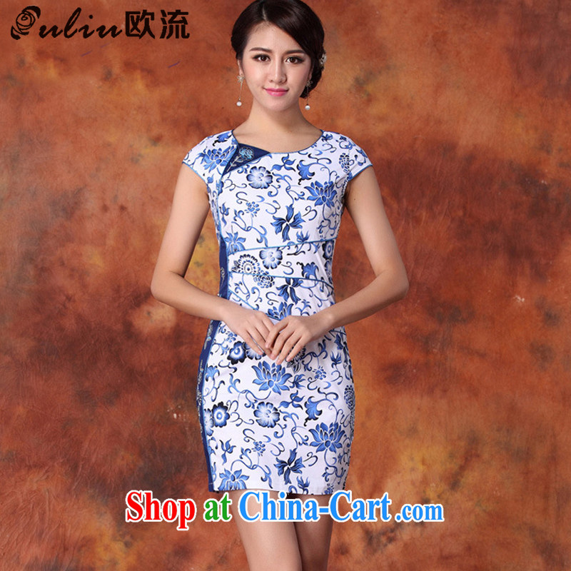 The current cotton stamp Beauty Fashion improved cheongsam Chinese JT 1019 blue XL
