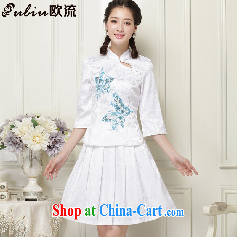 The best original and stylish outfit two-piece cuff in a tight retro dresses, for cultivating cheongsam JT 1055 white XXL