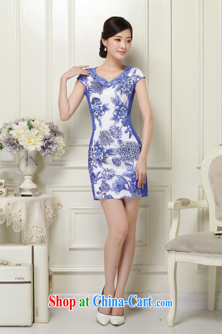 The class 2015 summer, women with elegant and classy and stylish stamp short-sleeved qipao JT 1038 blue XXL pictures, price, brand platters! Elections are good character, the national distribution, so why buy now enjoy more preferential! Health