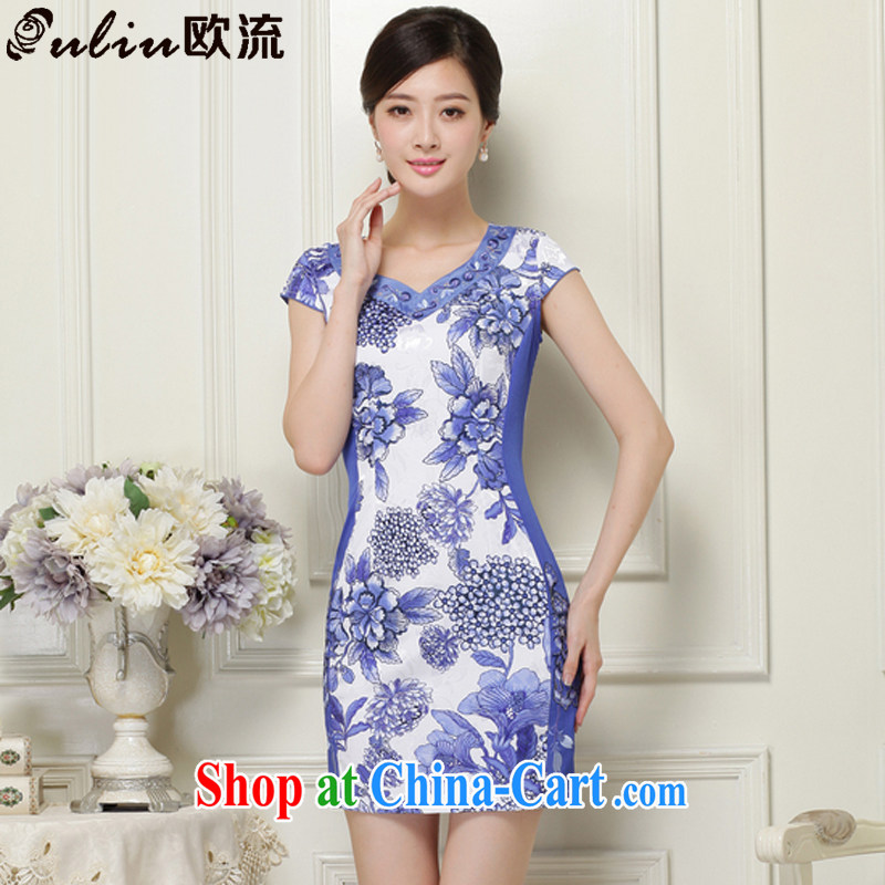 The class 2015 summer, female elegant classy and stylish stamp short sleeve cheongsam JT 1038 blue XXL