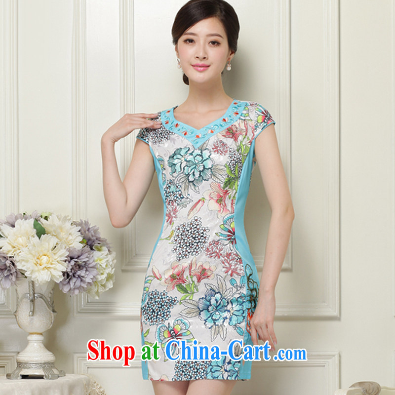 The class 2015 summer, female elegant and classy and stylish stamp short-sleeved qipao JT 1038 blue XXL, the stream (OULIU), shopping on the Internet