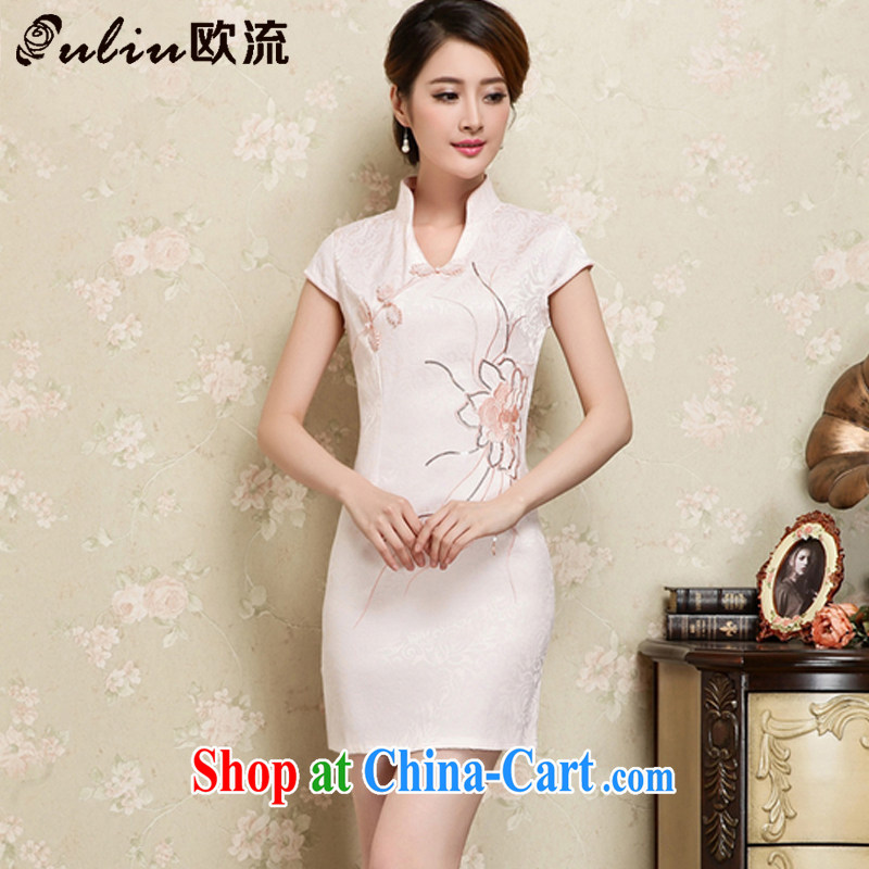 The trendy and elegant cotton embroidery improved cheongsam Graphics Style cheongsam short cheongsam JT 1128 apricot XL