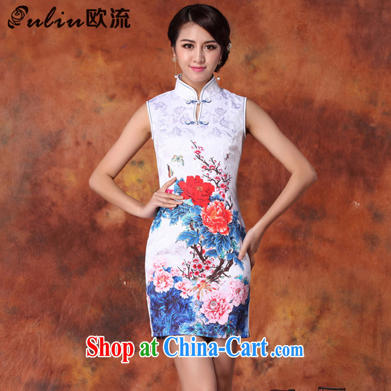 euro-china national wind women Beauty stamp duty cheongsam Chinese summer, for the people in long robes JT 1015 white XL